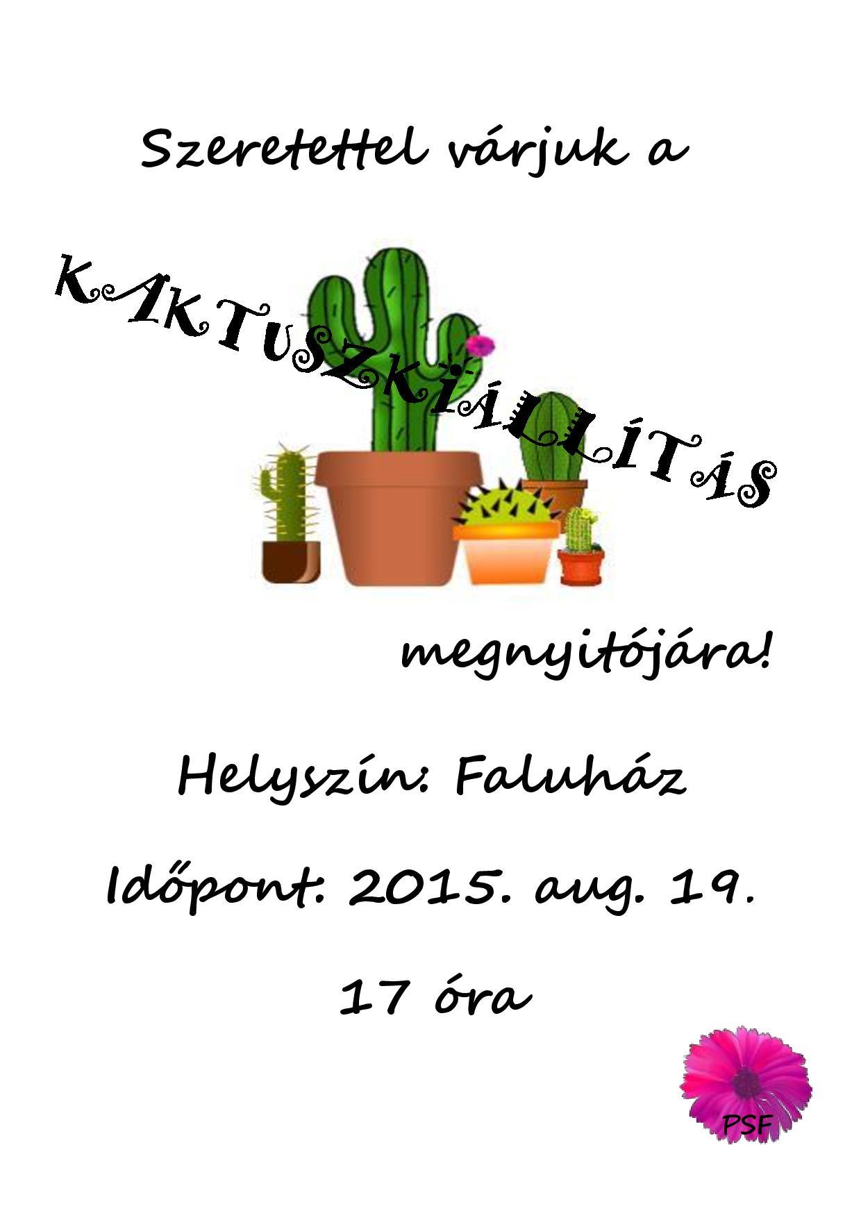 Kaktuszkiállítás-meghívó