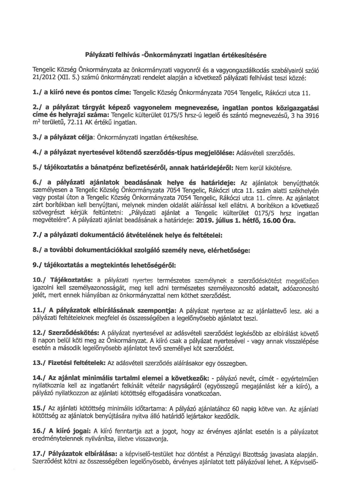 Pályázati felhívás a 0175-5 hrsz-ú önkormányzati ingatlan értékesítésére_page-0001