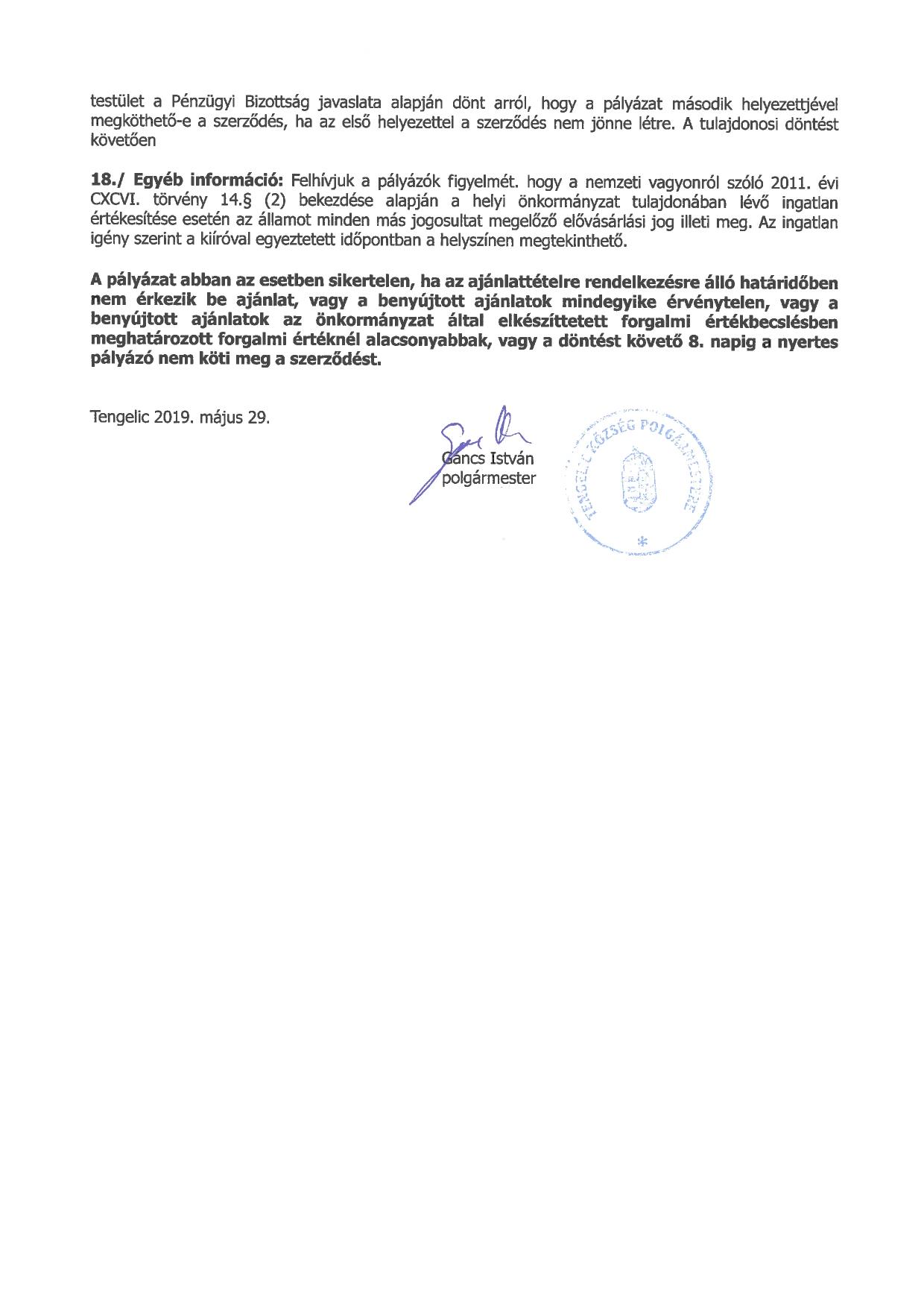 Pályázati felhívás a 0175-5 hrsz-ú önkormányzati ingatlan értékesítésére_page-0002