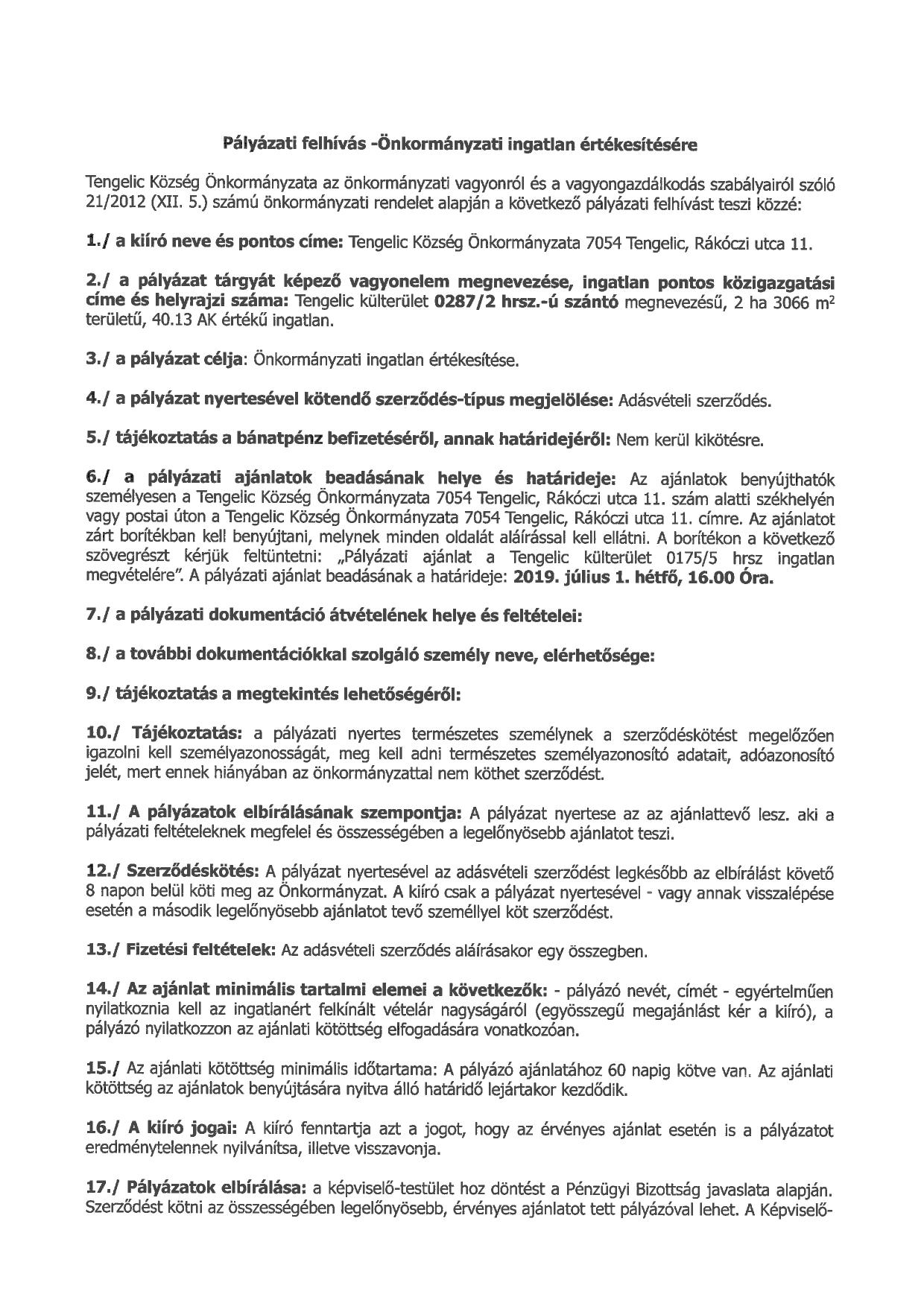 Pályázati felhívás a 0287-2 hrsz-ú önkormányzati ingatlan értékesítésére_page-0001