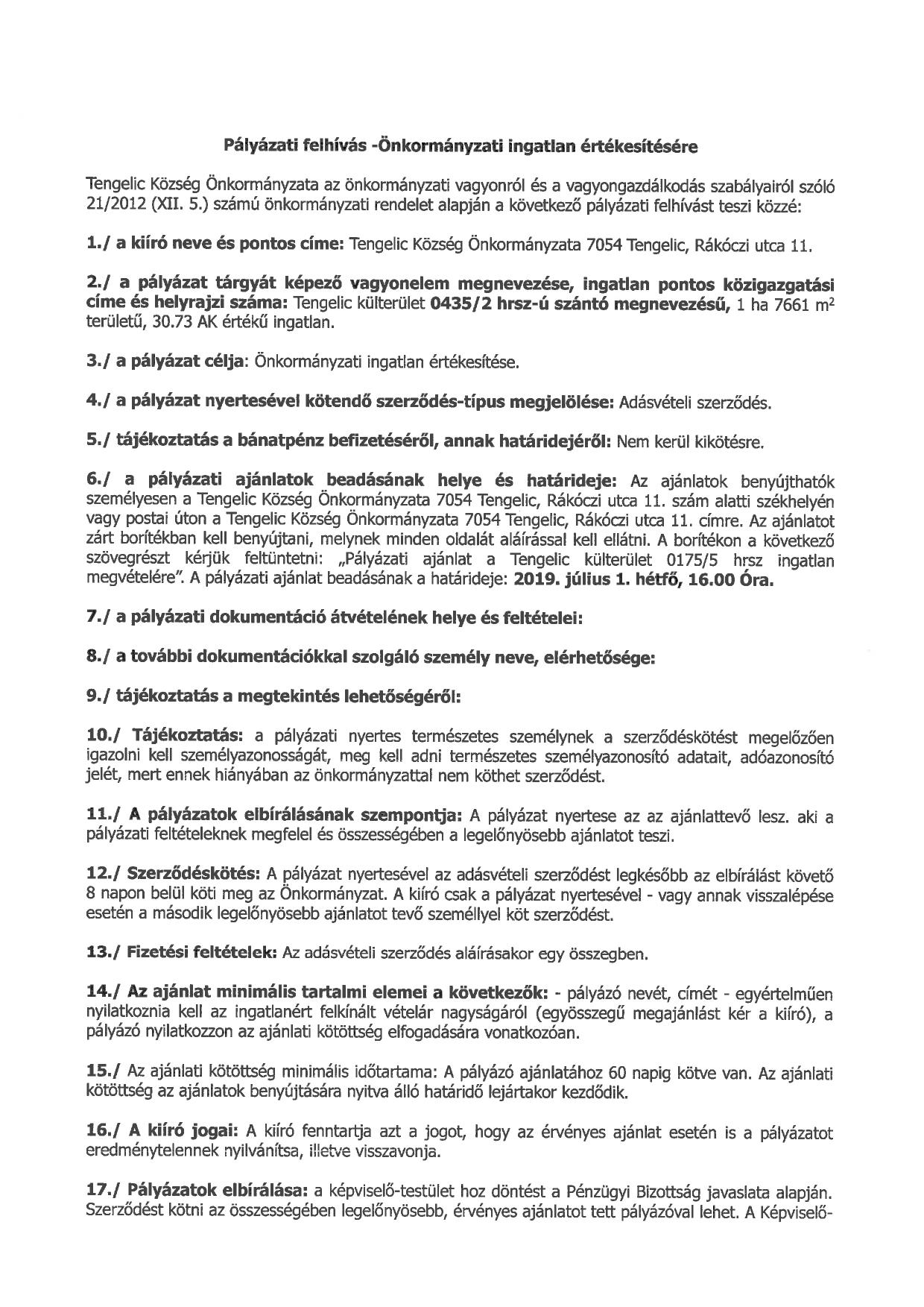 Pályázati felhívás a 0435-2 hrsz-ú önkormányzati ingatlan értékesítésére_page-0001
