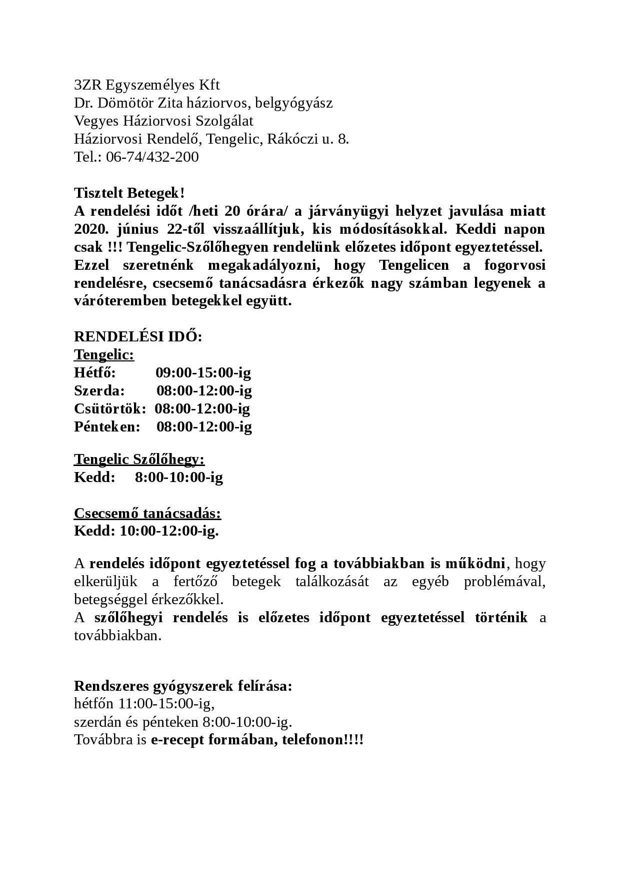 Háziorvos rendeléséről szóló tájékoztató1