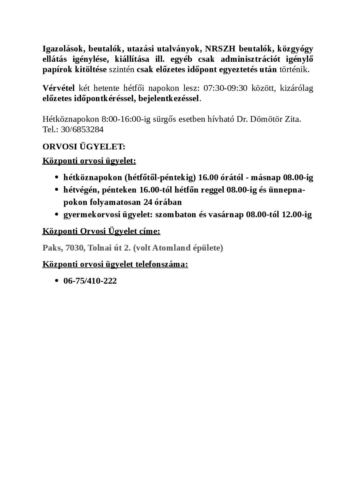 Háziorvos rendeléséről szóló tájékoztató2