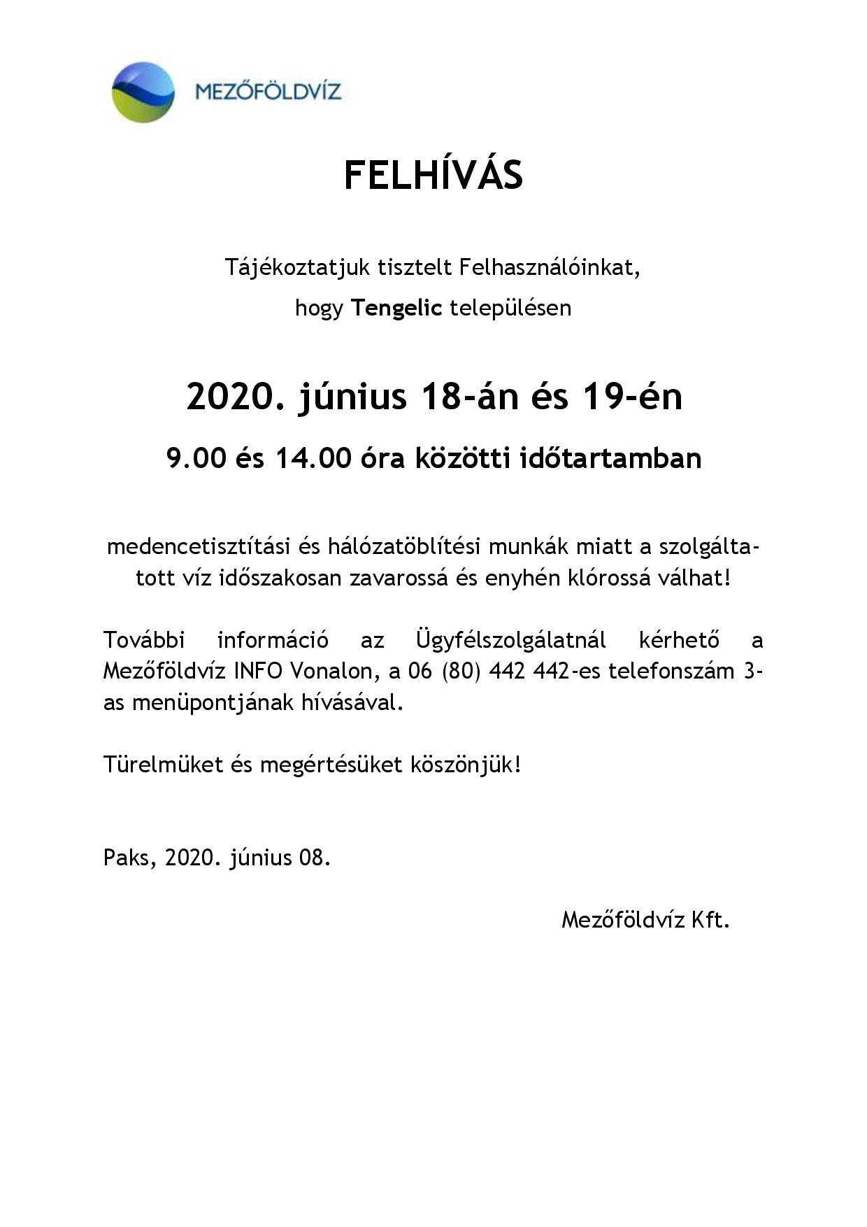 Tájékoztatás - Hálózat öblítés és medence mosatás miatti vízhiányról, nyomáscsökkenésről Tengelic 2020.06.18-19