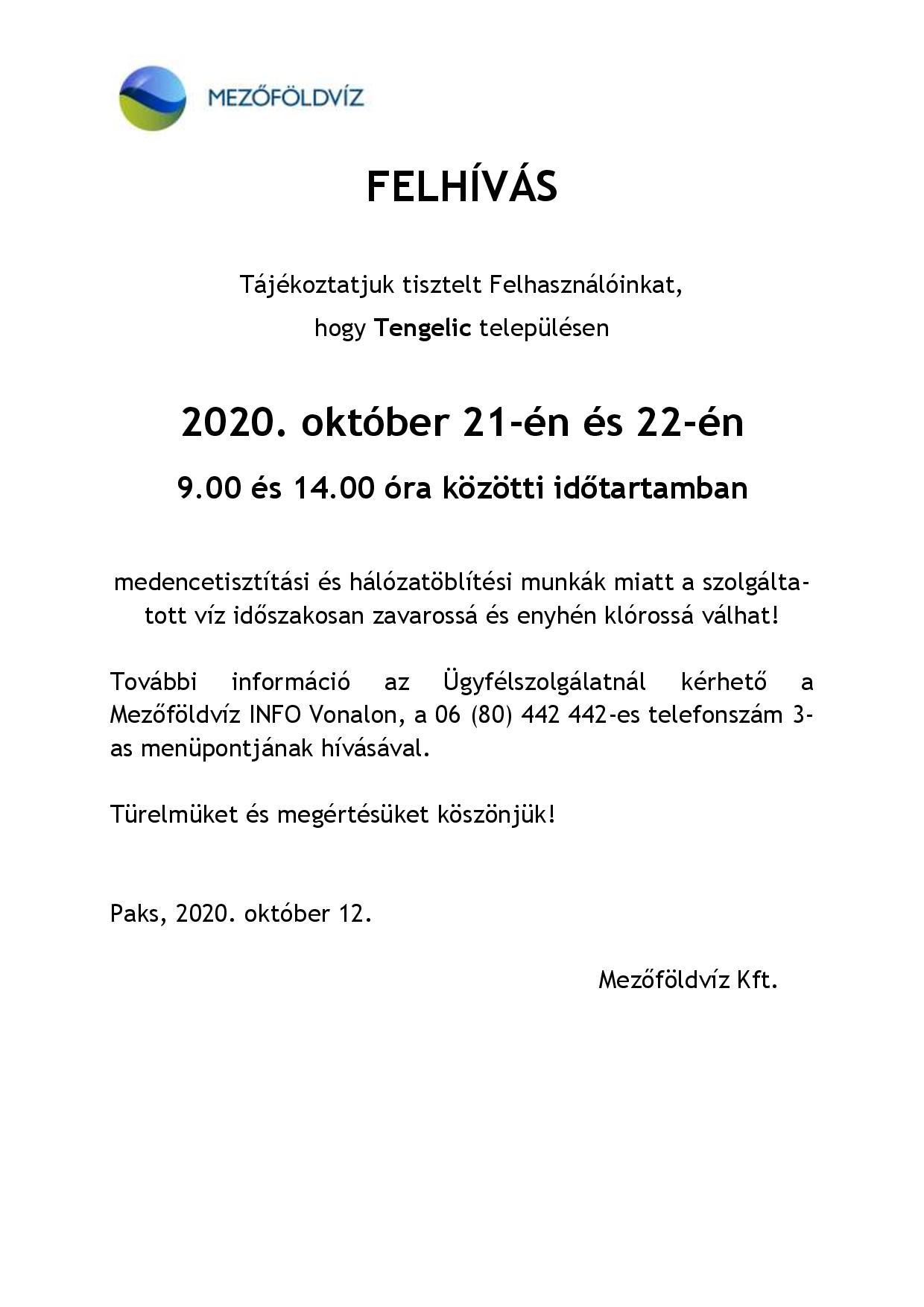 Tájékoztatás - Hálózat öblítés és medence mosatás miatti vízhiányról, nyomáscsökkenésről Tengelic 2020.10.21-22-page-001