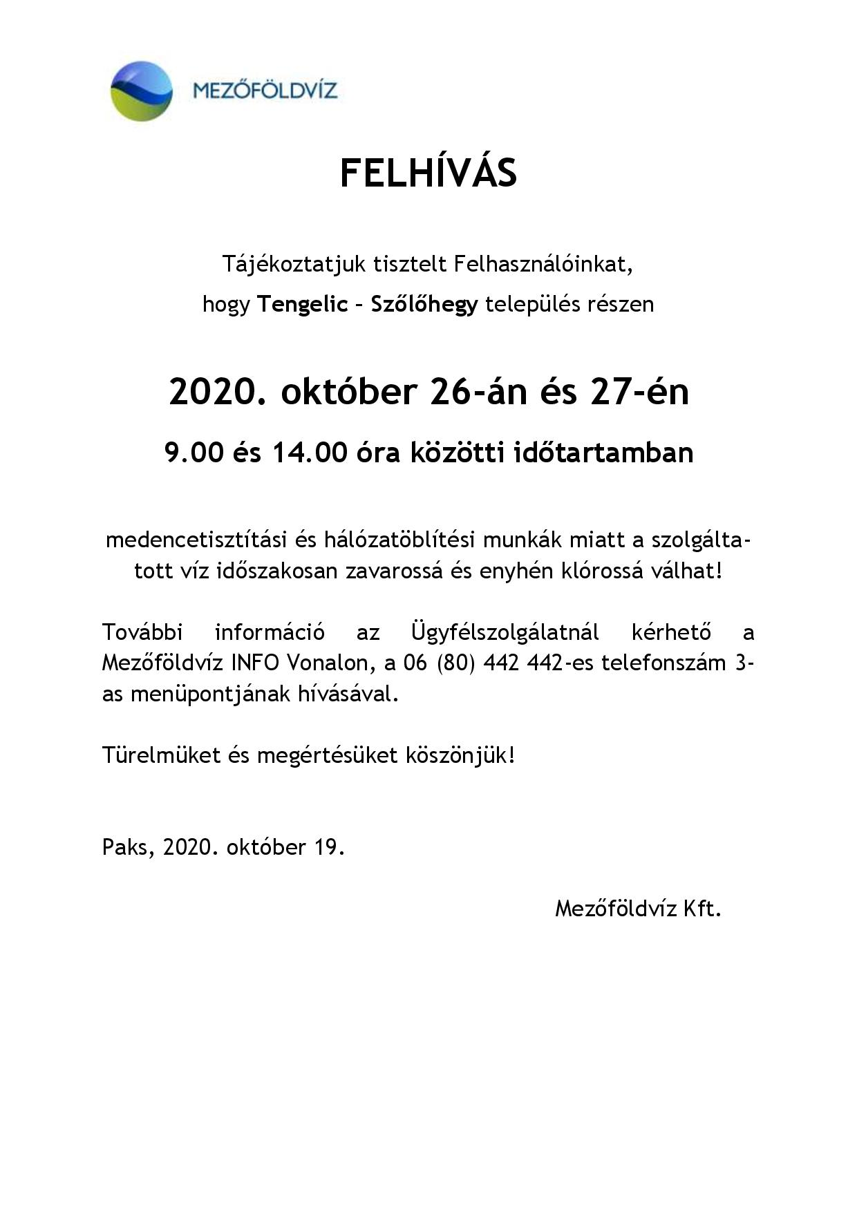 Tájékoztatás - Hálózat öblítés és medence mosatás miatti vízhiányról, nyomáscsökkenésről Tengelic-Szőlőhegy 2020.10.27-28-page-001